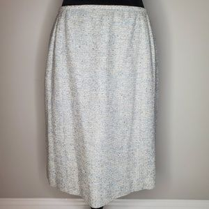 Carolina Herrera Tweed Skirt Blue Gray EUC